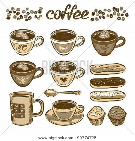 Hand Drawn Vector Coffee Set. Coffee Cups And Cakes.
