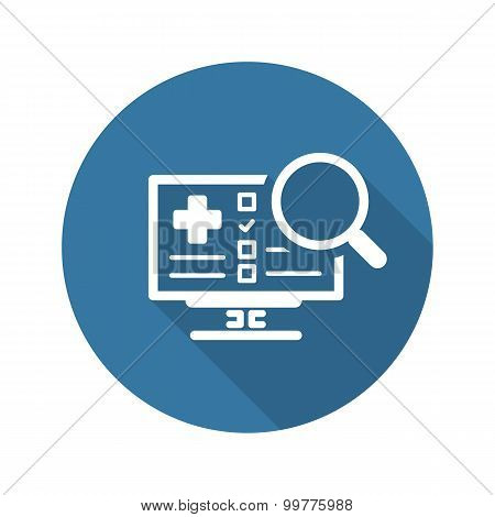 Search Online Instruction and Medical Services Icon. Flat Design