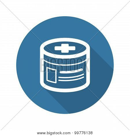 Pharmaceutical Drugs and Medical Services Icon. Flat Design. Lon