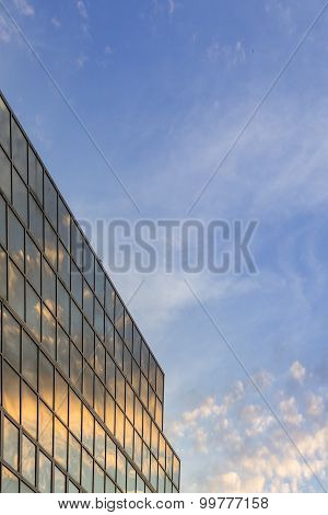 Sunset Soft Cloudy Sky And Reflex In Modern Building