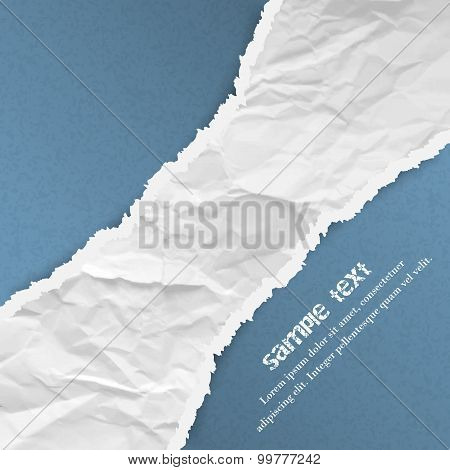 Ragged torn paper on blue background, vector illustration for your creative design
