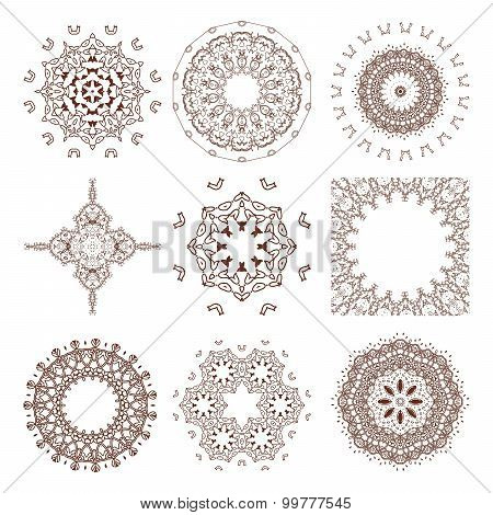 Henna tattoo doodle vector elements on white background