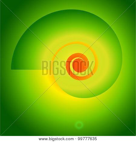 Fibonacci-spiral-vortex-on-a-bright-green-background