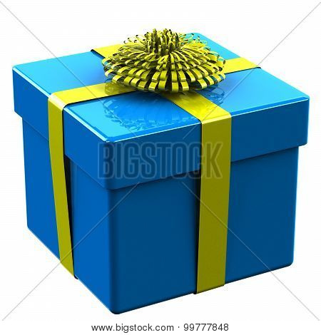 Blue Gift Box Tied Yellow Ribbon With A Bow