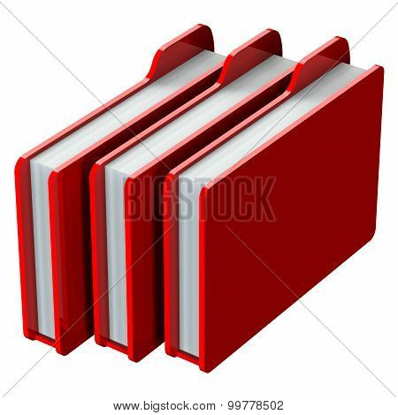 Red Folders Isolated On White Background