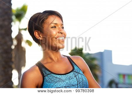 Cheerful African American Sporty Woman