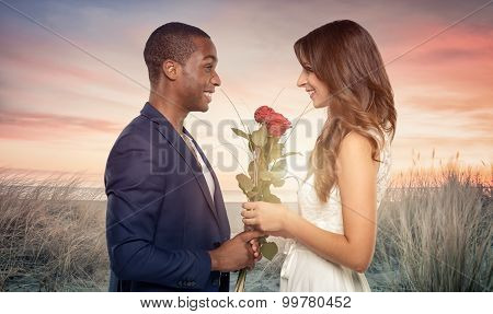 Smiling Romantic Man Proposing To His Sweetheart