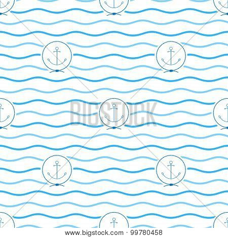 Blue Anchor, Seamless Pattern