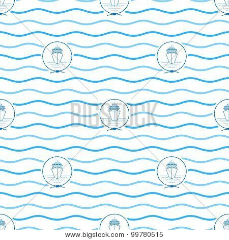 Blue Cruise Ship, Seamless Pattern