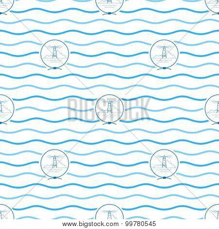 Blue Lighthouse, Seamless Pattern