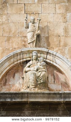 Madonna statue.