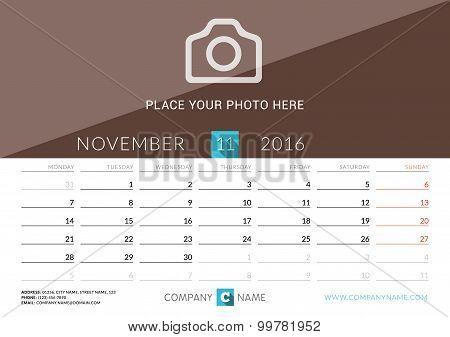 Desk Calendar 2016. Vector Print Template. November. Week Starts Monday