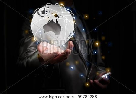 Businessman Working With Globalization Concept, Show Oceania Continent