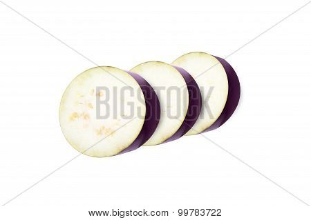 Eggplants Slises Over White Background, With Clipping Path
