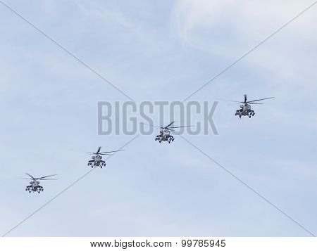 Mi-35 Helicopters In The Sky