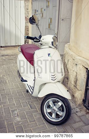 Tel - Aviv, Israel -March 29, 2015: vintage italian scooter Vespa Super, March 29, 2015 in Tel - Avi