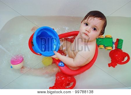 Baby Girl Having Bath