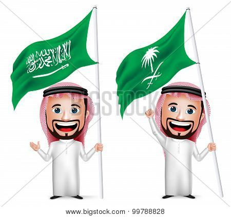 3D Realistic Saudi Arab Man Cartoon Character Holding and Waving Saudi Arabia Flag