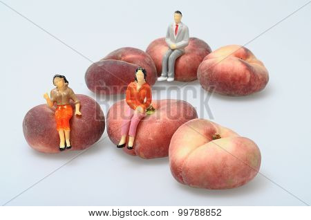 Flat Peaches On Light Background