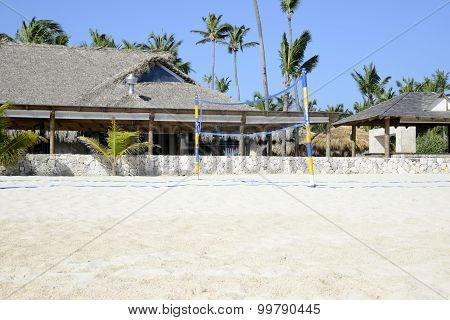 Volleyball Net On A Tropical Beach