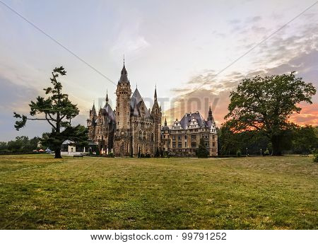Fabulous Castle In Moszna In The Evening, Opole, Poland
