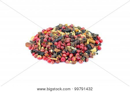 Heap Of Colorful Loose Green Chai Tea On White Background