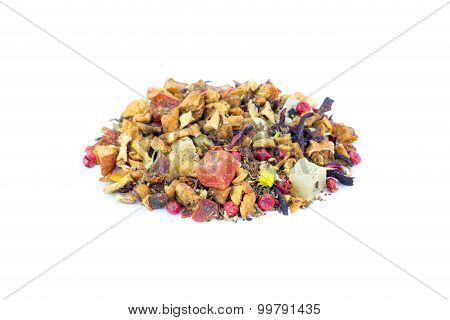 Heap Of Colorful Loose Hot Pineapple Tea On White