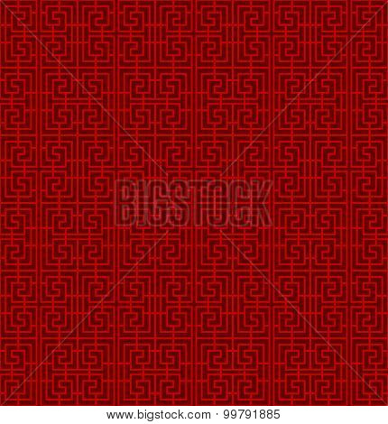 Seamless Chinese window tracery lattice spiral square geometry line.