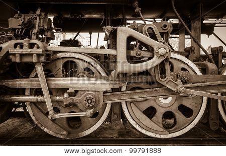 wheel detail of a steam train locomotive