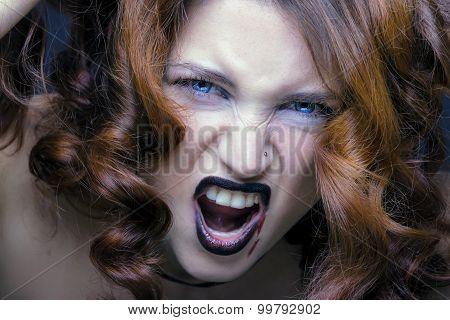 evil vampire girl portrait