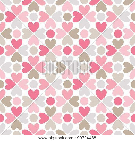 Floral  seamless pattern. Red, pink, gray, brown and white