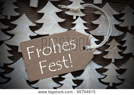 Brown Label With Frohes Fest Means Merry Christmas
