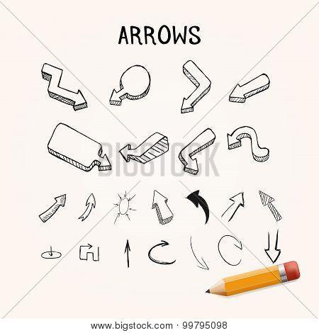 Vector set of hand-drawn arrows