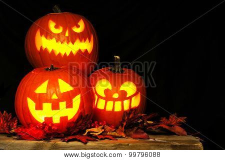 Halloween Jack o Lanterns illuminated at night