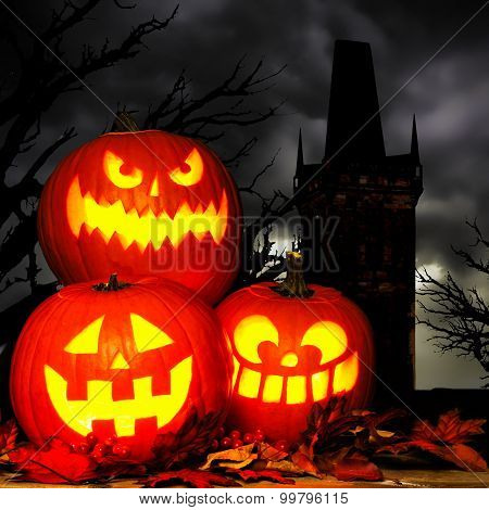 Halloween Jack o Lantern scene with spooky trees and tower