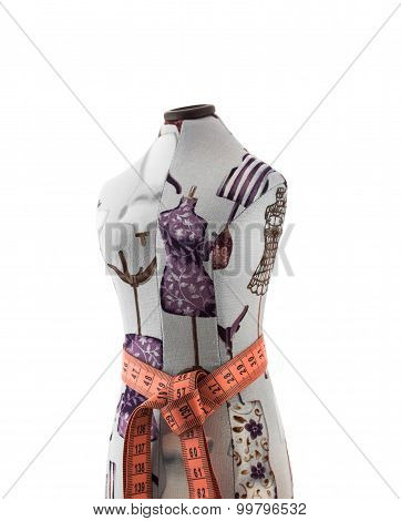 Mannequin Bust With Centimeter Ribbon On Waist  Isolated On White Background