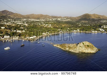 Aerial High Angle View Of Rabbit Island In Gumusluk Bay, Bodrum