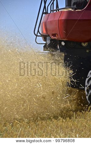 Chaff and straw expelled from a combine