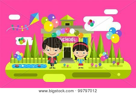 Back to school background. Cute vector cartoon boy and girl playing near building