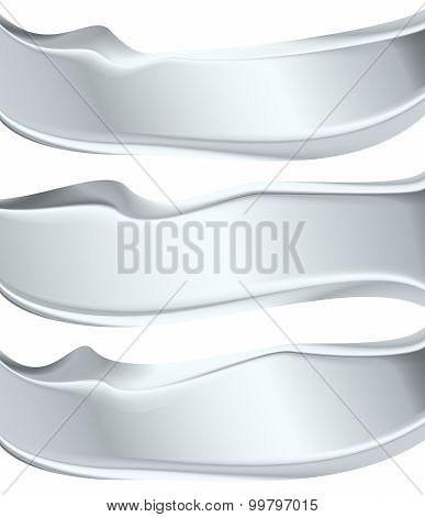 Silver Abstract Shape Banner Label Metal