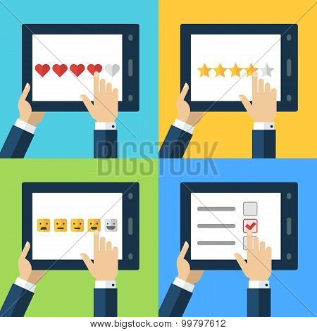 Vector Set Of Flat Computer Icons. Concept For Customer Service, Support, Review, Feedback, Like. Me