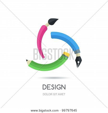 Vector Looped Creative Logo Design Template. Multicolor Symbol Of Pen, Pencil And Brush, Infinity Fl