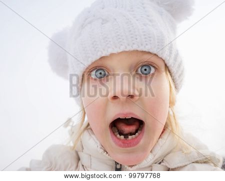 Portrait Of Frightened Child