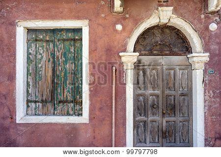 Old Building With Vintage Door And Window