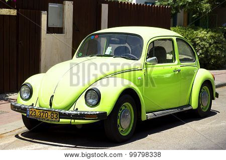 Tel - Aviv, Israel - March 29, 2015: German motor car Volkswagen Beetle at the city street.