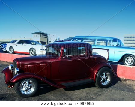 Classic Red Hot Rod At A Car Show