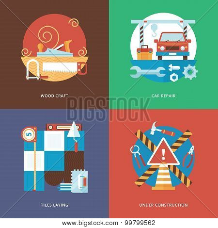 Vector constructing craft, services and decoration set for web design and mobile apps. Illustration