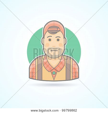Cameraman, video operator, videographer  icon. Avatar and person illustration. Flat colored outlined