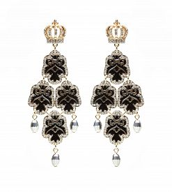 pic of lapis lazuli  - earrings with black stones on the white background - JPG