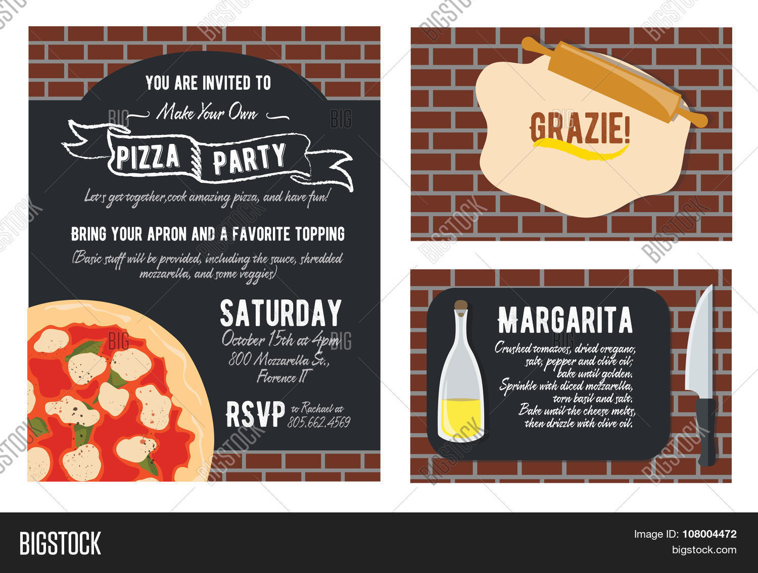 Vector Fun Make Your Own Pizza Party Invitation Set Recipe Card – Thank You Party Invitation